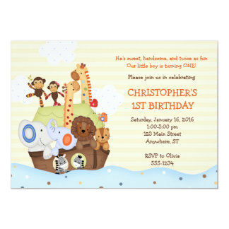Noah's Ark Birthday Invitation (w/ optional photo)