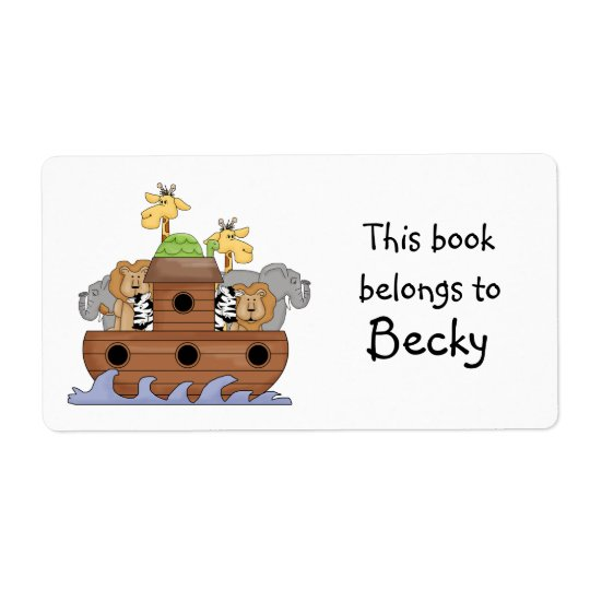 Noah's Ark Book Plate Sticker Shipping Label