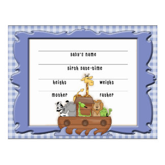 Noah's Ark Boy Birth Certificate Postcard