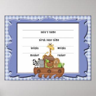 Noah's Ark Boy Birth Certificate Poster