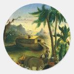 Noah's Ark by Hidley, Vintage Victorian Folk Art Round Stickers