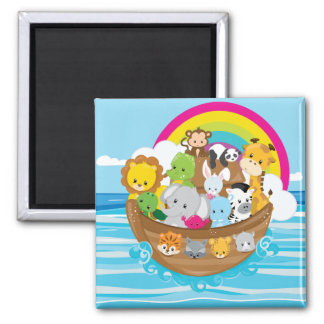 Noahs Ark Cute Animals Toddlers Fun Design Magnet