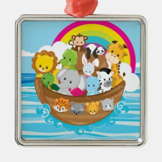 Noahs Ark Cute Animals Toddlers Fun Design Metal Ornament
