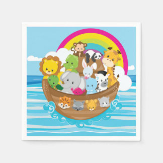Noahs Ark Cute Animals Toddlers Fun Design Paper Napkin