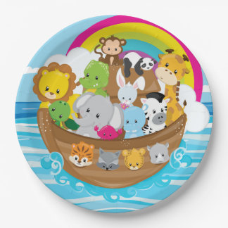 Noahs Ark Cute Animals Toddlers Fun Design Paper Plate