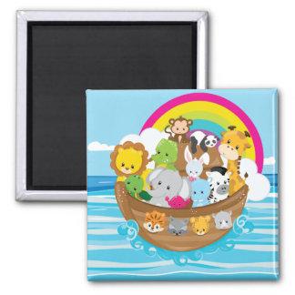 Noahs Ark Cute Animals Toddlers Fun Design Square Magnet