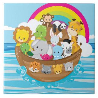 Noahs Ark Cute Animals Toddlers Fun Design Tile