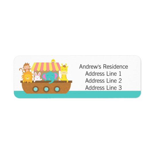 Noah's Ark, Cute Baby Shower return address labels