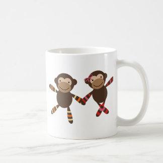 Noah's Ark monkey Couple in love holding hands Basic White Mug