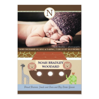 Noah's Ark Photo Birth Announcement