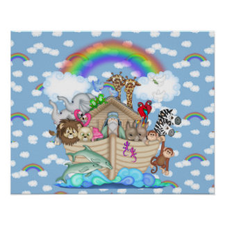 NOAHS ARK Rainbow NURSERY DECORATION Poster