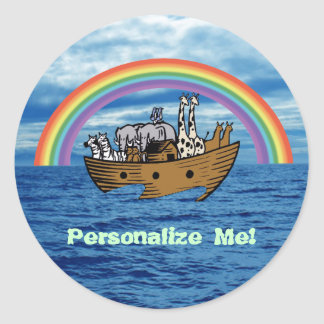 Noah's Ark & Rainbow Round Sticker