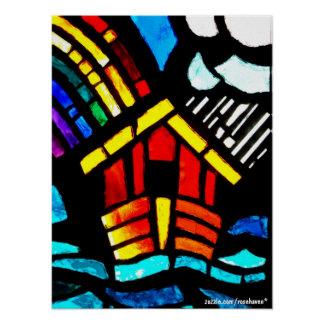 Noah's Ark Stained Glass Poster