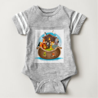 Noah's Ark With Jungle Animals Baby Bodysuit