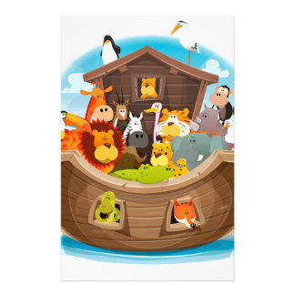 Noah's Ark With Jungle Animals Customized Stationery