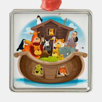 Noah's Ark With Jungle Animals Metal Ornament