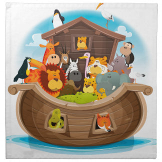 Noah's Ark With Jungle Animals Napkin