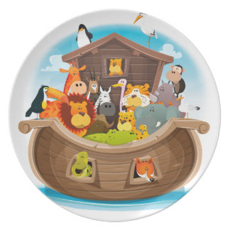 Noah's Ark With Jungle Animals Plate