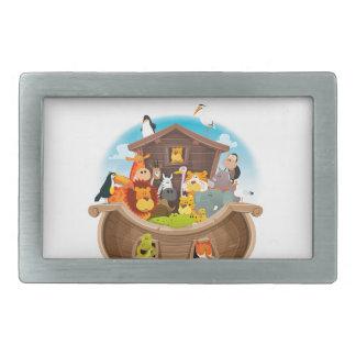 Noah's Ark With Jungle Animals Rectangular Belt Buckle