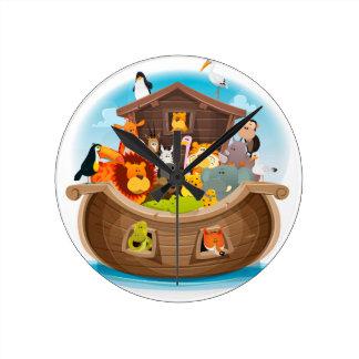 Noah's Ark With Jungle Animals Round Clock