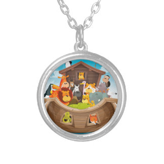 Noah's Ark With Jungle Animals Silver Plated Necklace