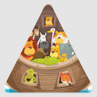 Noah's Ark With Jungle Animals Triangle Sticker