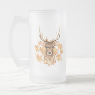 Noble deer. Autumn Frosted Glass Beer Mug