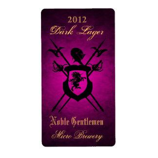 Noble Gentlemen Knights Crest Pink Beer Label