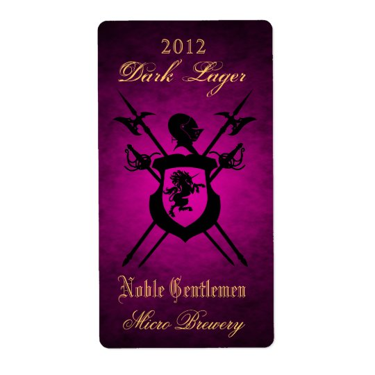 Noble Gentlemen Knights Crest Pink Beer Label