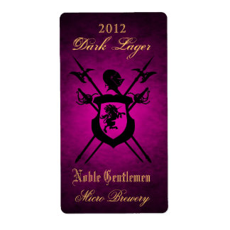 Noble Gentlemen Knights Crest Pink Beer Label Shipping Label