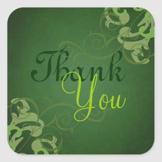 Noble Lime Scroll Green Thank You Sticker