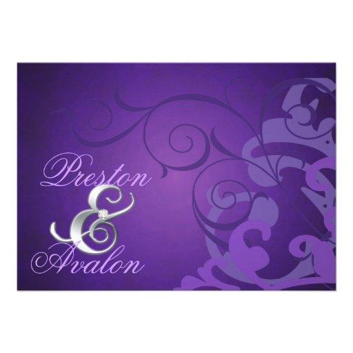 Noble Purple Scroll Purple Swirl Invitation