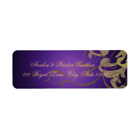 Noble Purple Texture Gold Scroll Address Labels