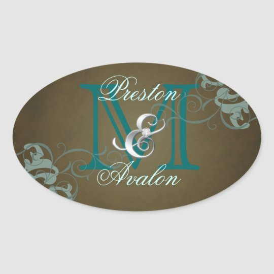 Noble Teal Scroll Monogram Brown Sticker