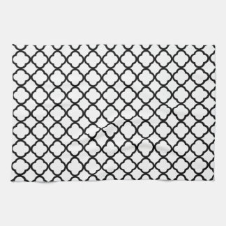 Noble White And Black Quatrefoil. Moroccan Pattern Kitchen Towel