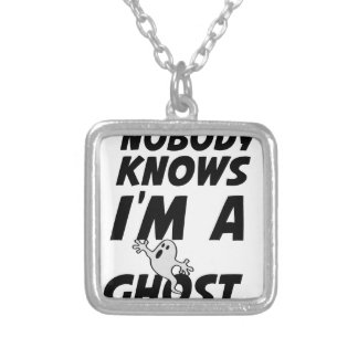 Nobody Knows I'm A Ghost design Silver Plated Necklace