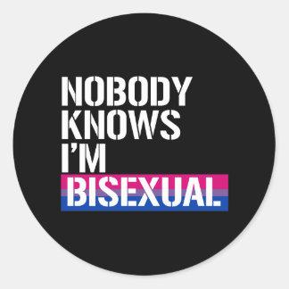 Nobody Knows I'm Bisexual - - LGBTQ Rights -  - .p Round Sticker
