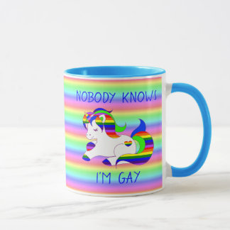 Nobody Knows Im Gay Rainbow LGBT Humor Mug