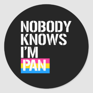 Nobody Knows I'm Pan - - LGBTQ Rights -  -  Classic Round Sticker
