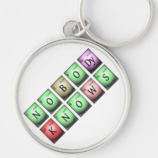 nobody knows in chemical elements Silver-Colored round keychain