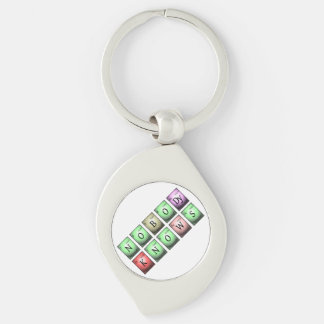 nobody knows in chemical elements Silver-Colored swirl keychain