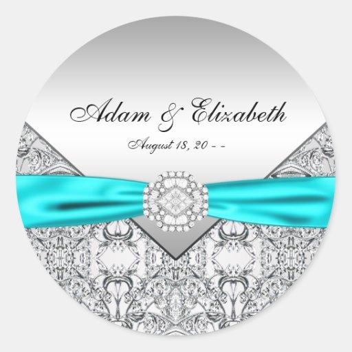 Noces de diamant bleues turquoises adhésifs ronds