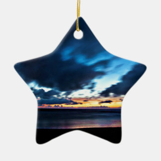 Nocturnal Cloud Spectacle on Danish Sky Ceramic Star Ornament