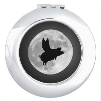 Nocturnal Flying Pig Compact Mirror