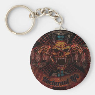 Nocturnal Life Skull Keychain
