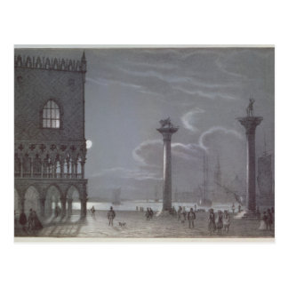 Nocturnal Scene of Palazzo Ducale and the Two Colu Postcard