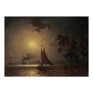 Nocturnal voyage by Ivan Aivazovsky Poster