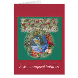nocturne féerique magique de Noël Carte De Vœux