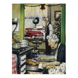 Noël à la maison démodé vintage Postc de cuisine Carte Postale