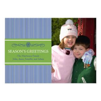 Noël barre la carte de Noël (bleu marine/vert) Cartons D'invitation
